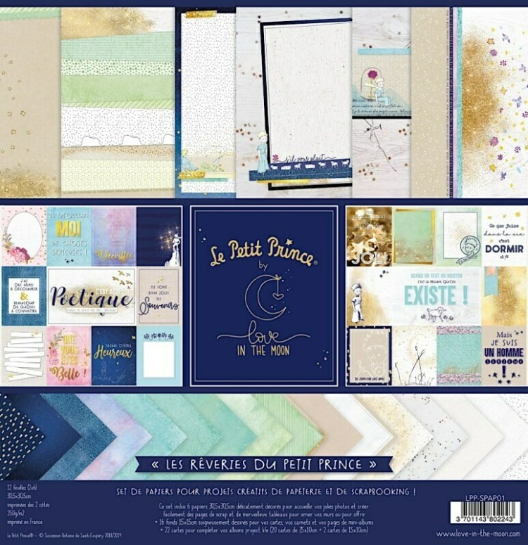 Set de 12 papiers - Les rêveries du Petit Prince