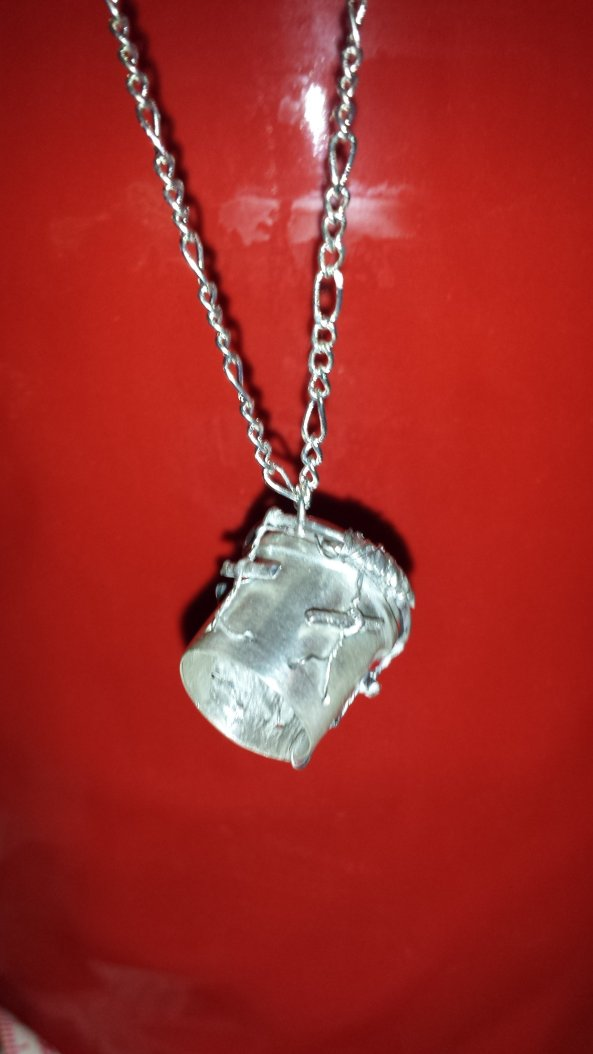 Fine Silver Garifuna Drum pendant and chain