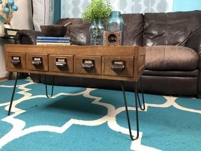 Vintage Coffee Table, Card Catalog Table