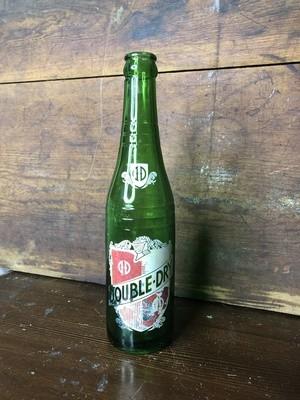 Vintage bottle, green glass, vintage advertising
