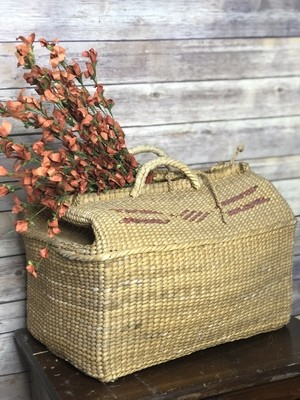 Antique Basket, vintage suitcase, straw basket