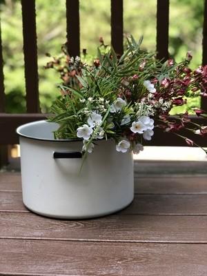 Vintage Enamel Pot, Metal Planter