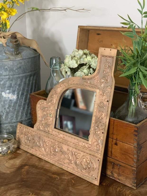 Vintage Mirror, Ornate Mirror, Brass Frame Mirror