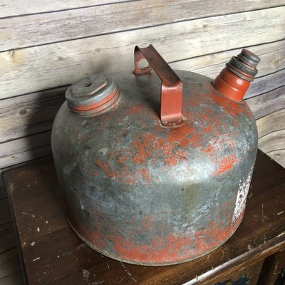 Vintage Red Oil Can, gas can, rusty can