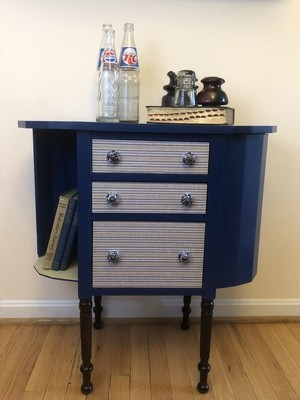 Antique table, refinished end table, sewing table