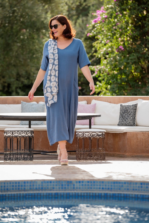 Ronda - Short sleeve blue dress