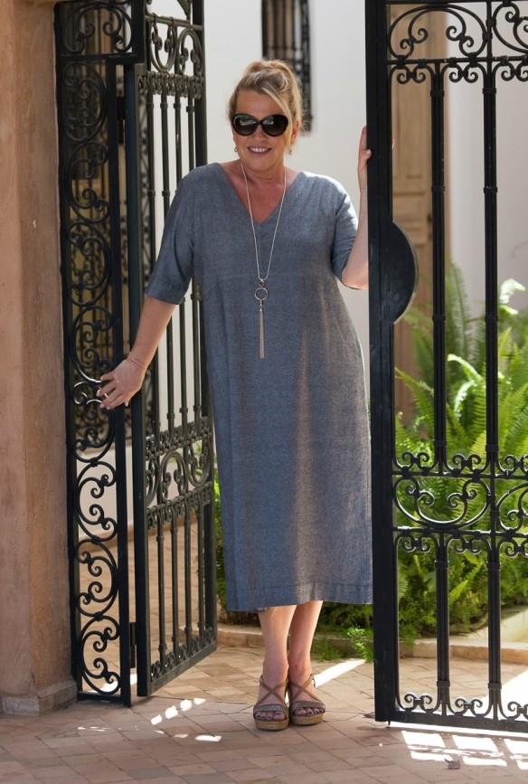Rolanda Denim Linen Dress