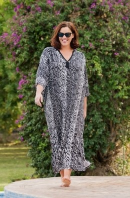 Shaa - Abstract Print Jersey Kaftan Cover-Up Dress