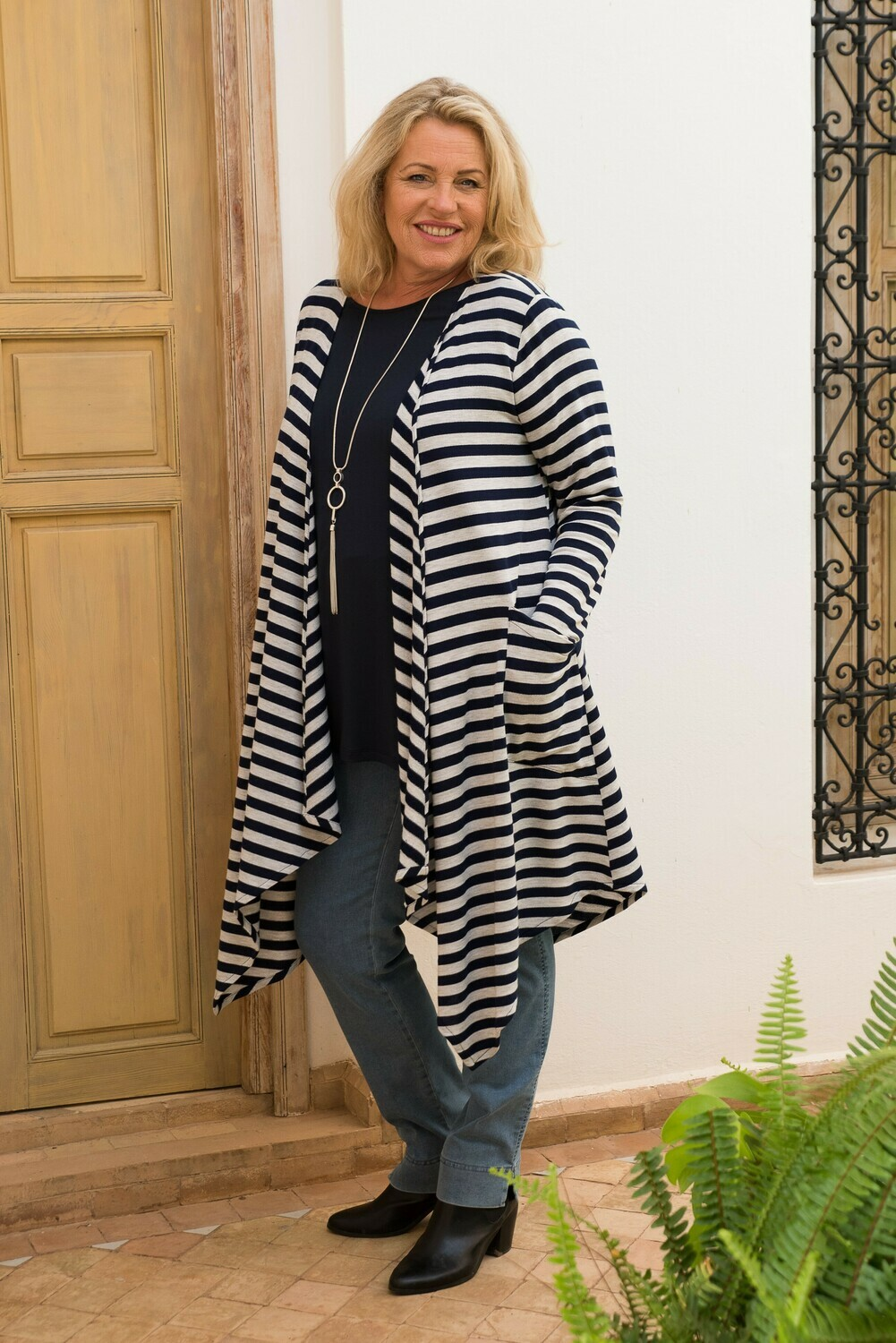Jayani - Stripe Jersey Knitted Jacket