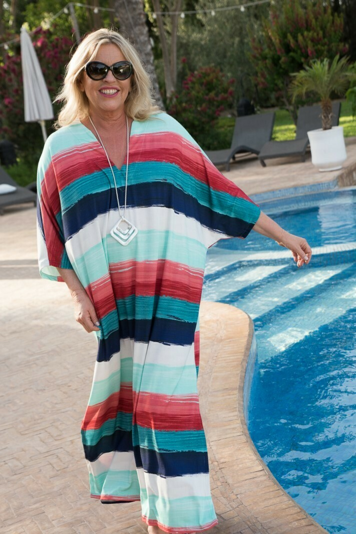 Kinaria - Jersey Stripe Kaftan/Cover up