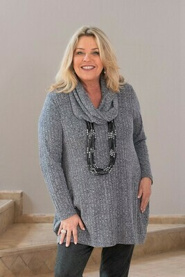 Tuhina - Rib Soft grey Knitted Tunic