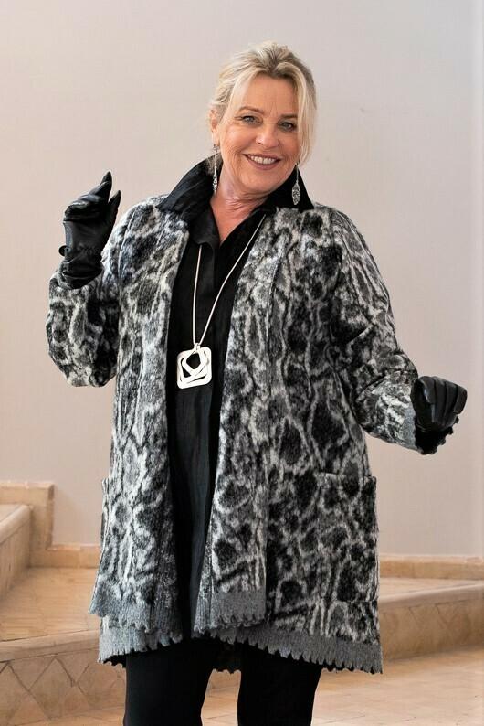 Jeovana - Animal print soft wool jacket