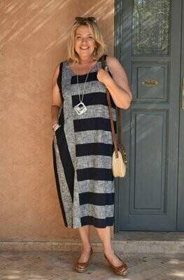Rafia - Sleevless Linen strip dress