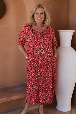 Romaana - Short sleeve print bubble dress with pockets.
