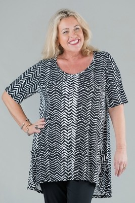 Tessa - Short Sleeve Top - Black/White