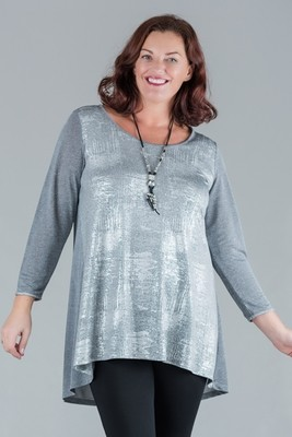 Toya - Sparkle Round Neck Jersey Top