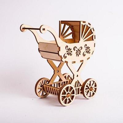 Конструктор деревянный Детская Коляска Для Кукол Polly ДК-2-11