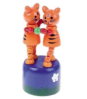 Дерев. игрушка Дергунчик Два тигренка Рыжий кот  ИД-1300