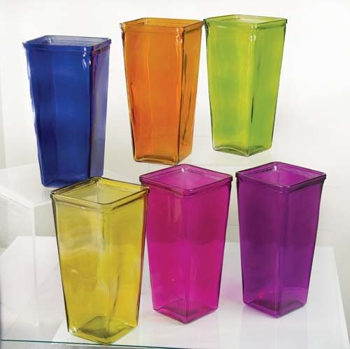 "GP3001ASST - 4""X4""X9"" High Tapered Vase (Assorted Colors) GP3001ASST"