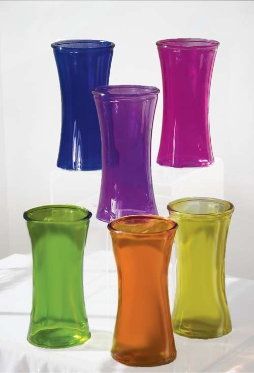 "GP4006ASST - 8 1/4"" Molded Gathering Vase with 4"" Opening (Assorted Colors) GP4006ASST"