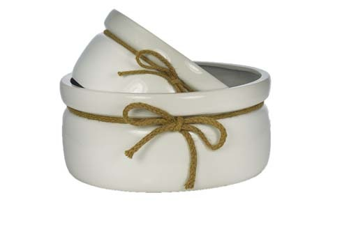 """CP5206WHT - S/3 8"""" - 10"""" - 12"""" Ceramic Dish With Rope Set CP5206WHT"""