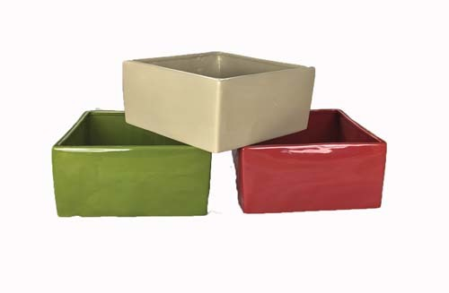 """CP5204-8 - 3 Assorted Color 8"""" Square Planters (4"""" deep) CP5204-8"""