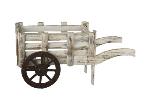 """HG6023WW - 18"""" Antique White Washed Wooden Cart With 10"""" X 5.5"""" Opening ( Holds 2-5"""" Pots) HG6023WW"""
