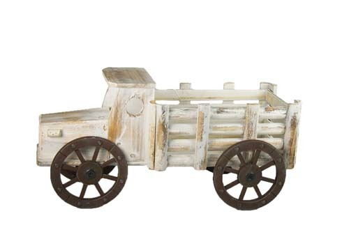 """HG6024WW - 20"""" Antique White Washed Wood Truck With 10"""" X 5.5"""" Opening (holds 2-5"""" Pots) W/L HG6024WW"""