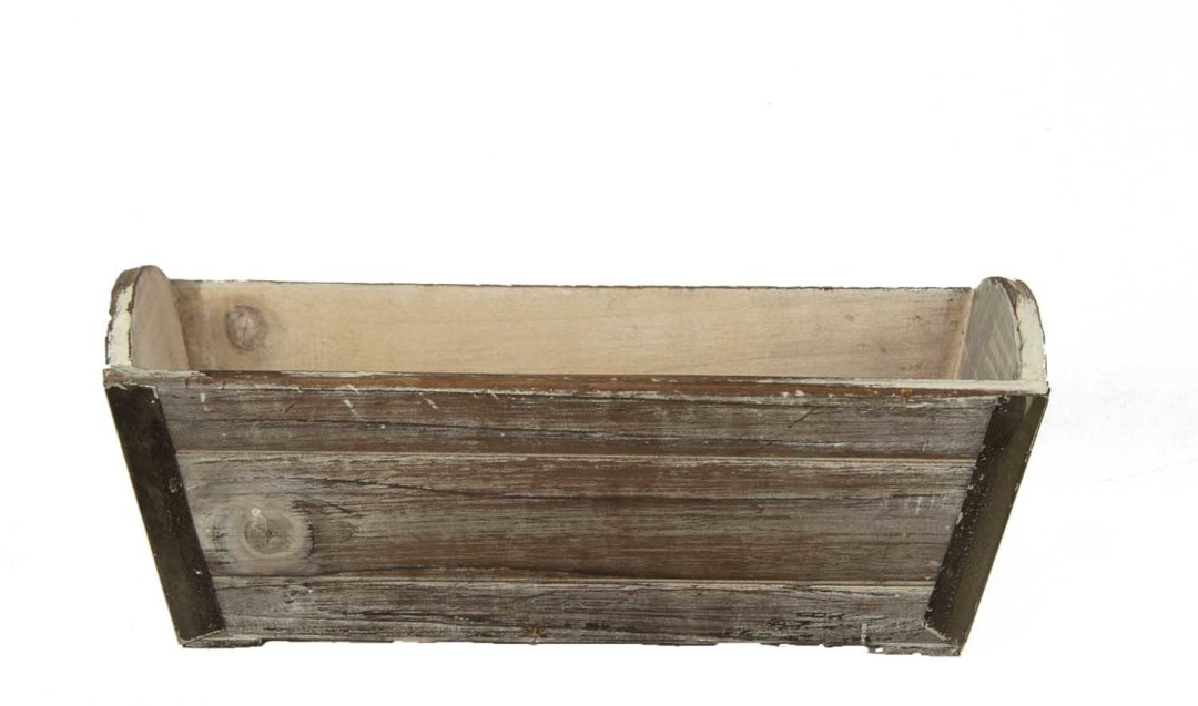 """WB1237 - 11"""" X 5"""" Rectangular Antique Washed Wooden Box W/L WB1237"""