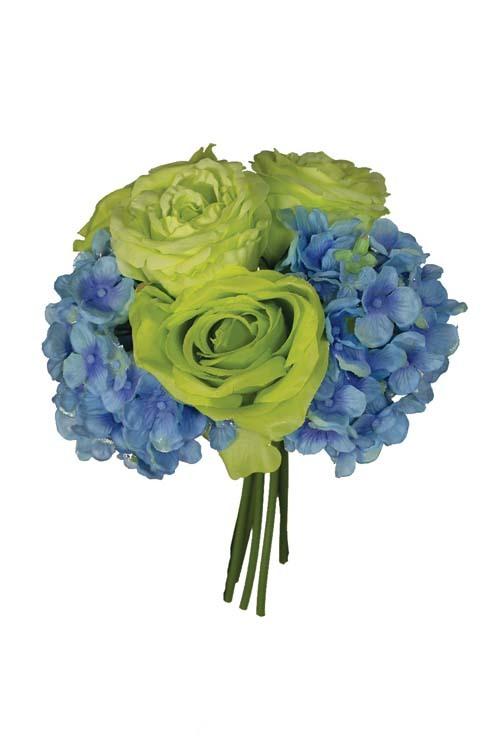 "SB2041GRBL - 12"" Rose / Hydragea Mix Bundle Green & Blue (6 Pcs) $7.50 each SB2041GRBL"