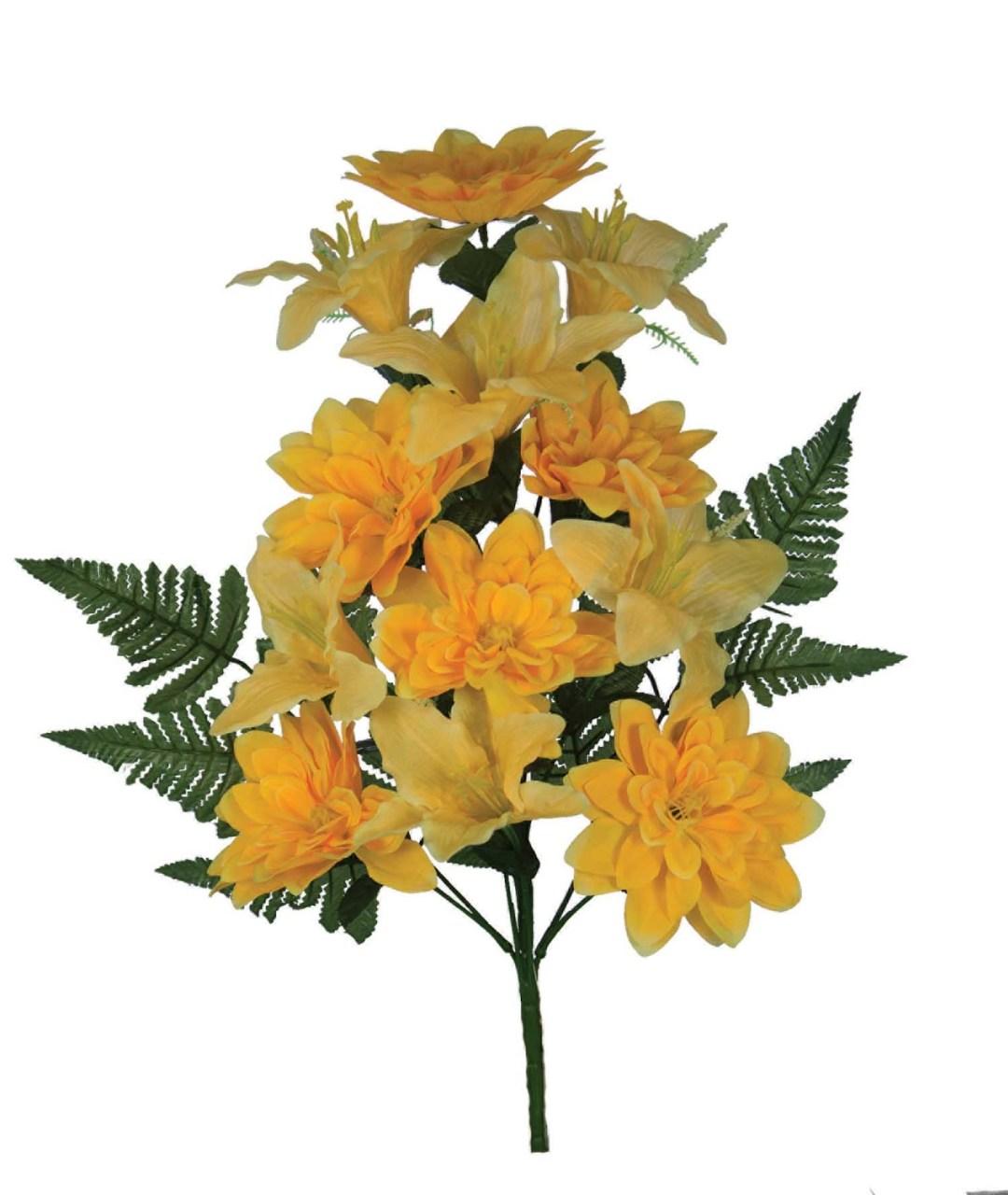 "SB3006YELL - 18"" One Sided Open Lily / Dahlia Mix x12 $3.95 each SB3006YELL"