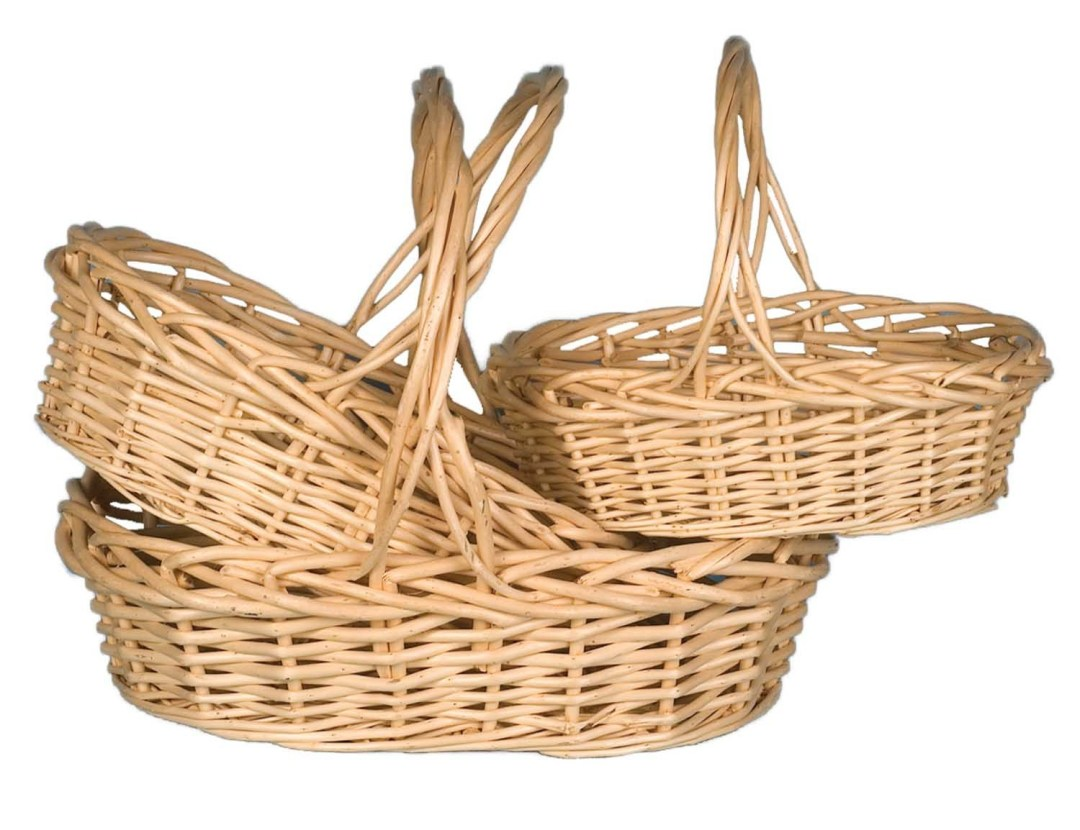 "MS1101 - S/3 Large Oval Natural Willow 14"" to 18"" $28.95 set W/L Liner Included MS1101"