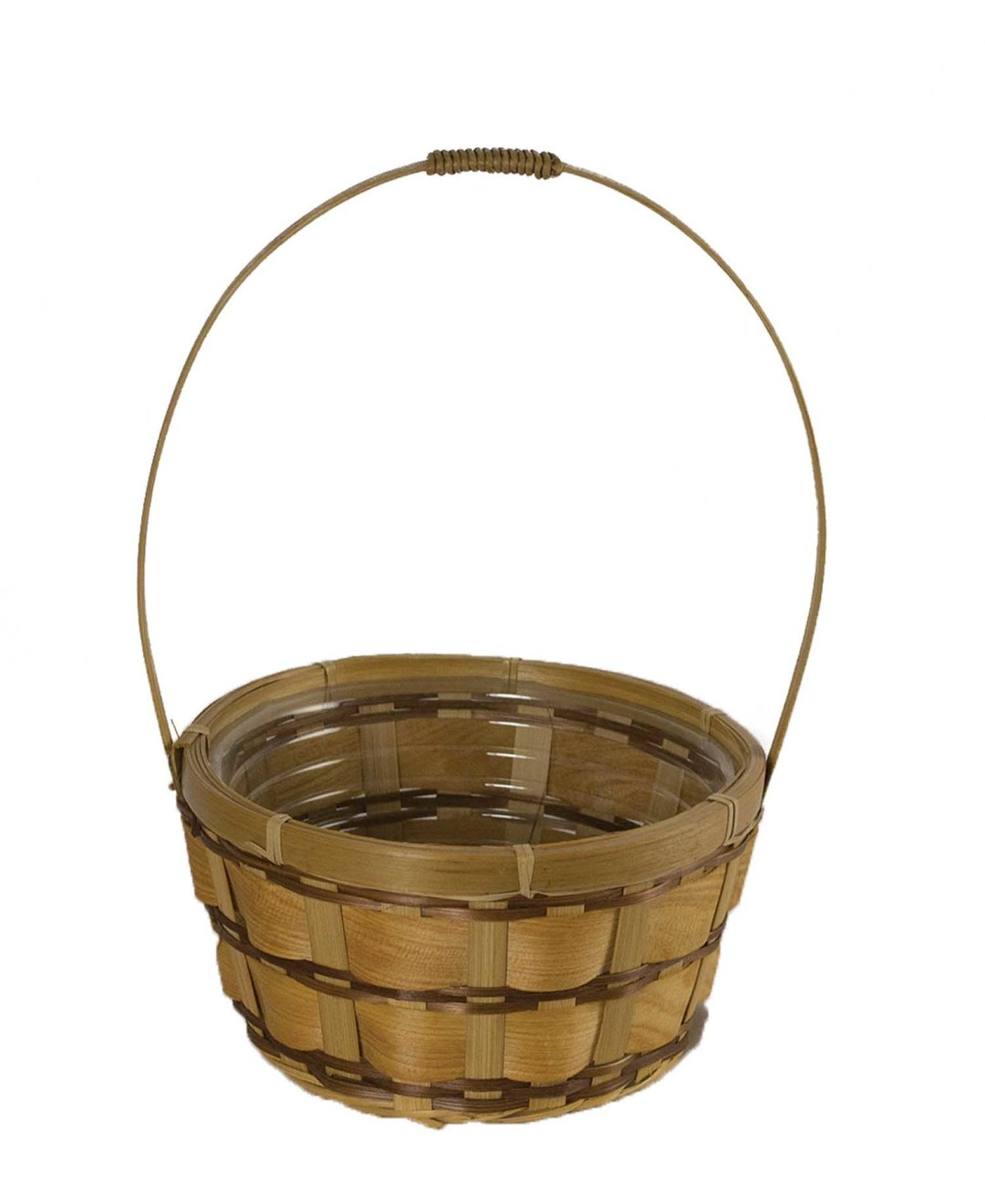 "MS1707-7 - 7"" Round Woodchip Slat Basket With Handle W/L Liner Included MS1707-7"
