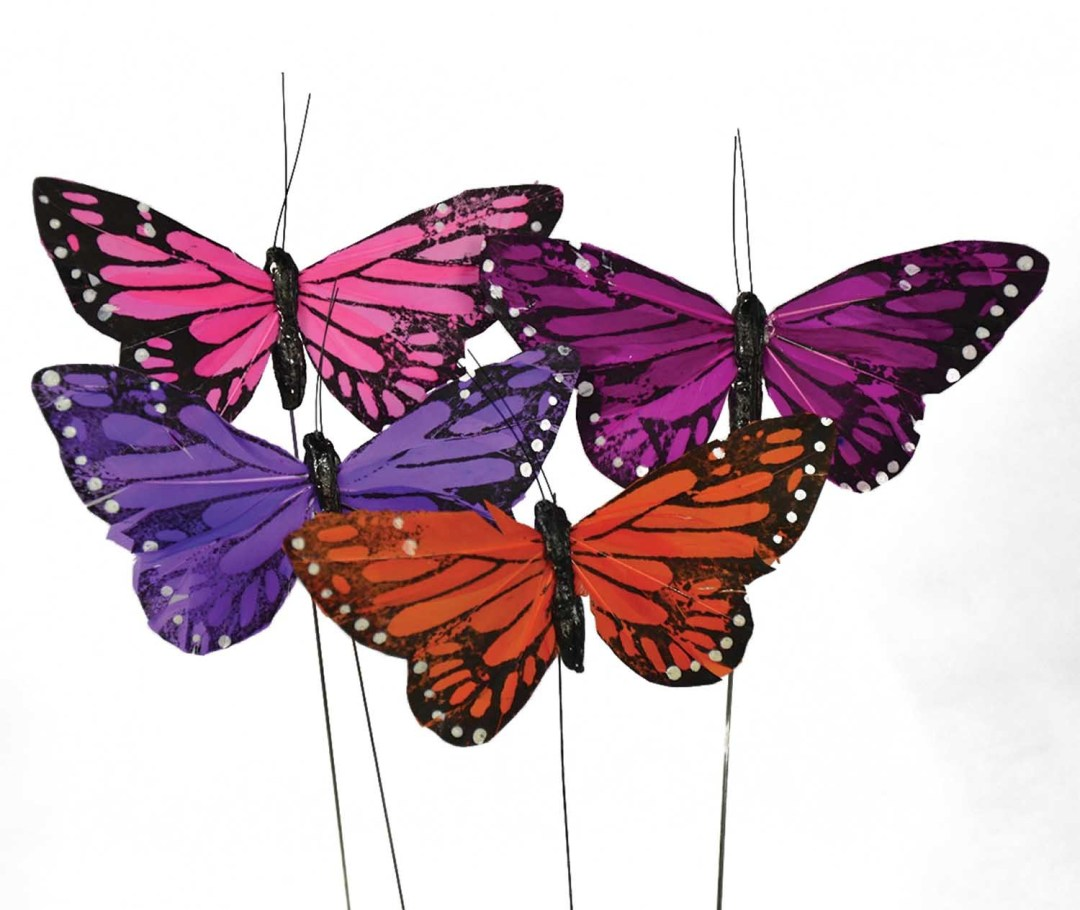"""DP1009 - Assorted Large 5"""" Butterfly On Wire """"dozen"""" DP1009"""