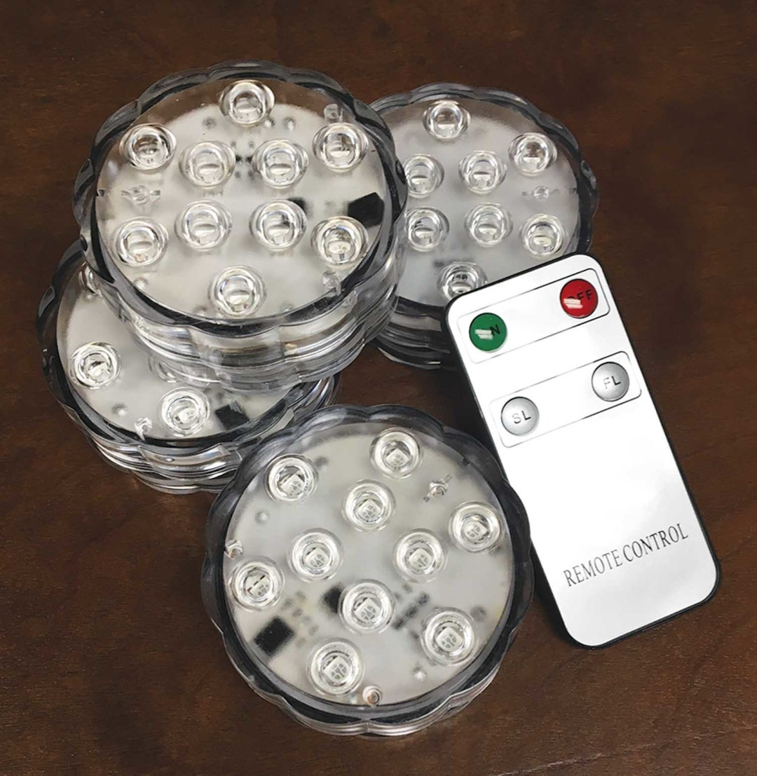 "LGT014BR - 2.75"" LED Bright White Light (includes Remote) Submersible Box of 4 with remote $20 per box LGT014BR"