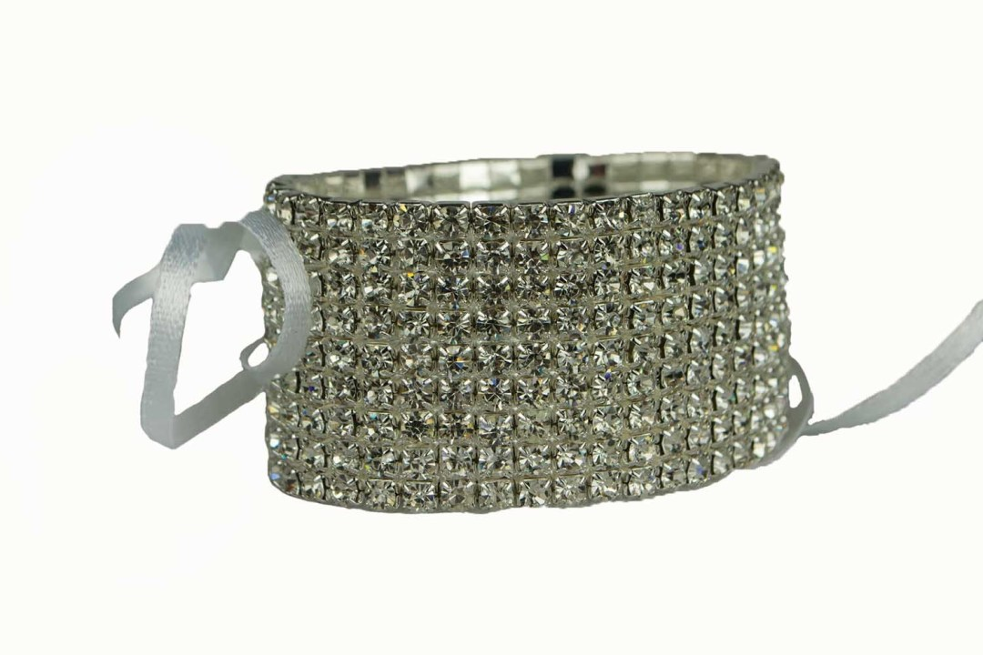 306CLR - 9 Row Crystal Wristlet With Plastic Pad 306CLR