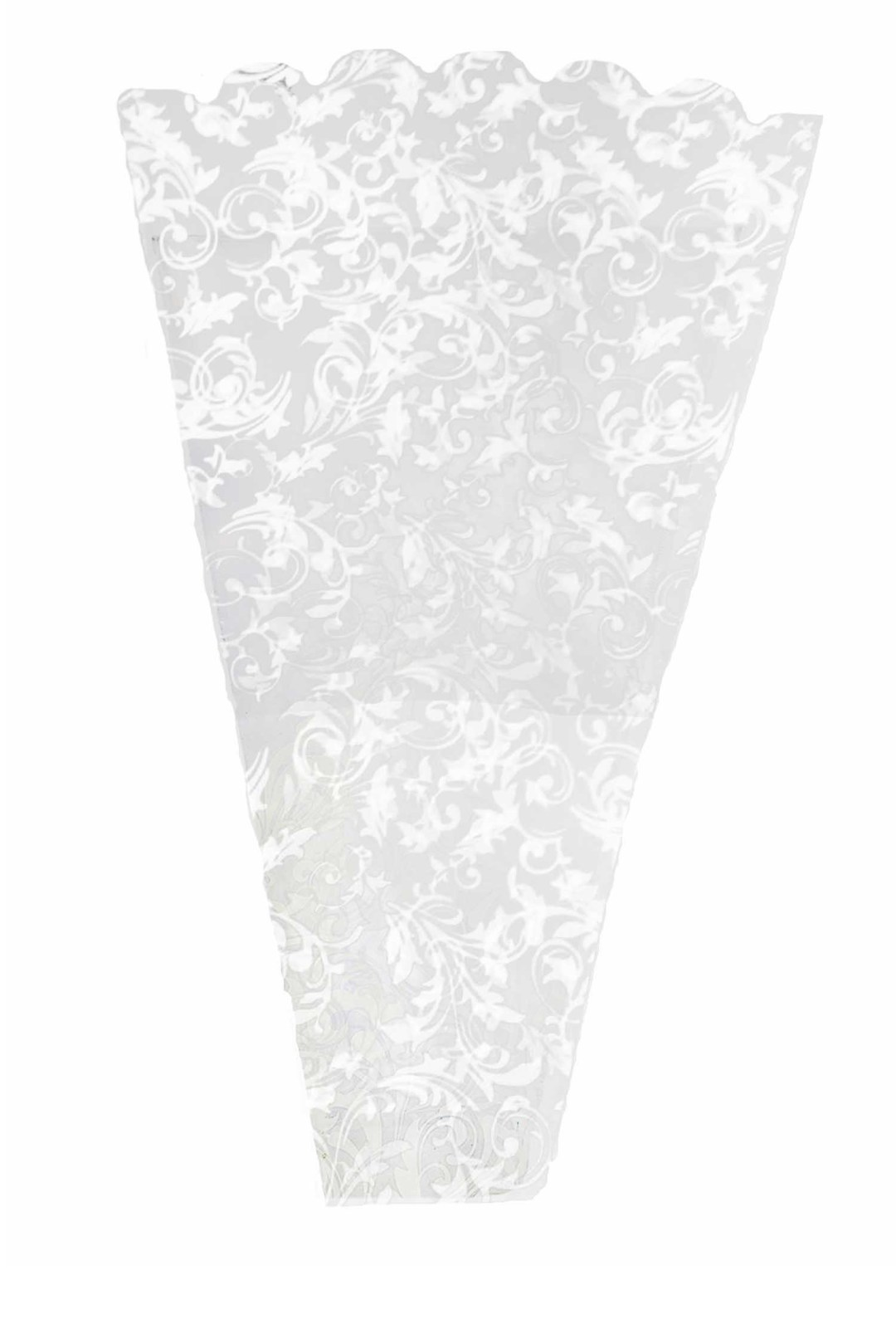 "FS5010WHT - Poly Floral Sleeve With White Pattern 19"" Tall X 13.5"" Wide x 4"" Bottom Pack of 50 FS5010WHT"