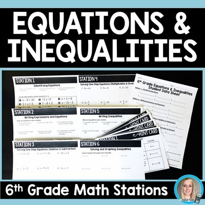 6th Grade Equations and Inequalities Stations