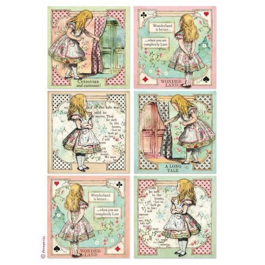 Alice Cards - A4 -Stamperia Rice Paper