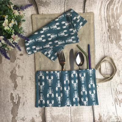 Cutlery roll wrap + 2 steel straws & brush