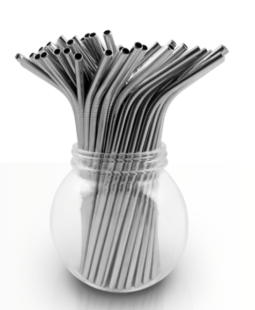 Stainless steel bulk straw - silver
