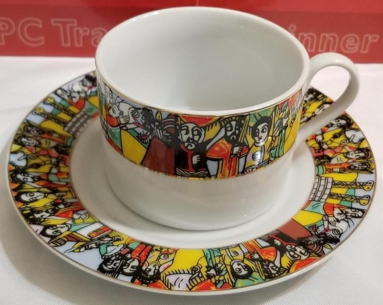 Ethiopian Traditional Coffee Cups - Traditional Design - 6 Caps and 6 Saucers 12 PCS   Queen of Sheba 00056