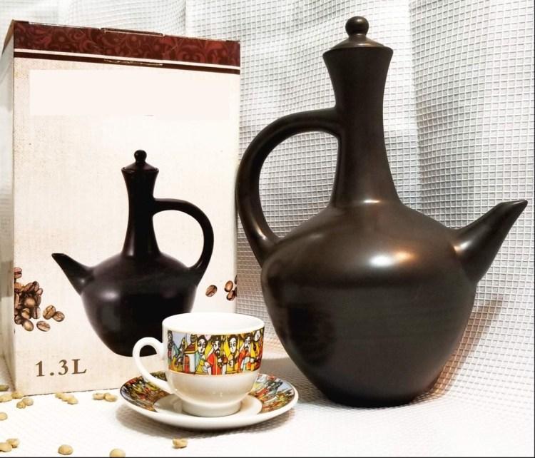 Ethiopian Traditional Coffee Pot | Black | Jebena ጀበና 00061