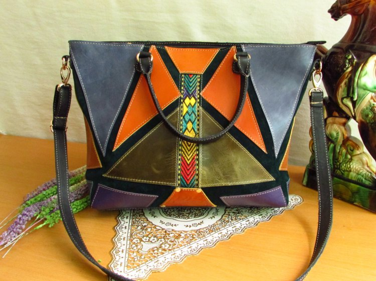 Colourful Leather Tote with Green Suede Base 00105