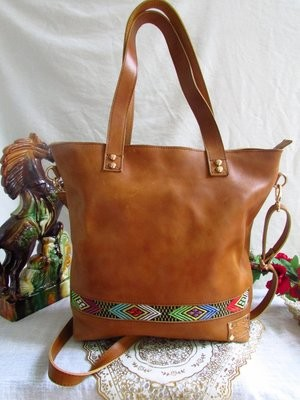 Brown leather handbag for women