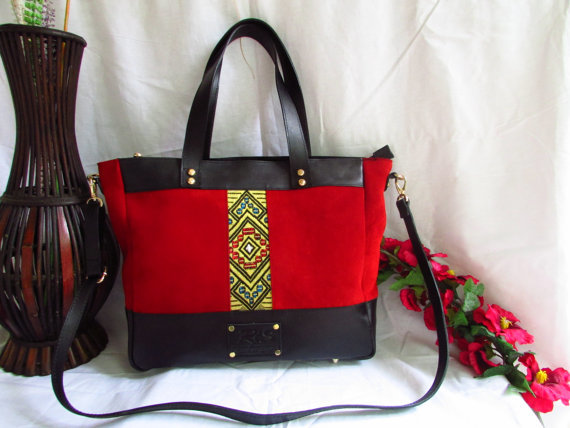 Red Suede Leather Handbag -Red Women Tote 00111