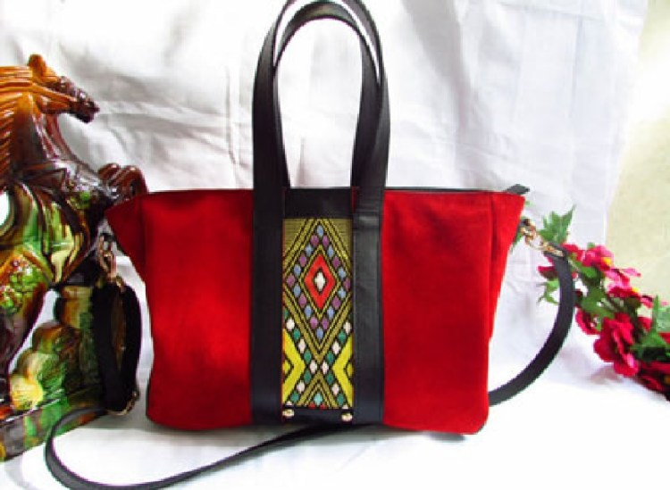 Red Suede Leather Tote Bag 00112