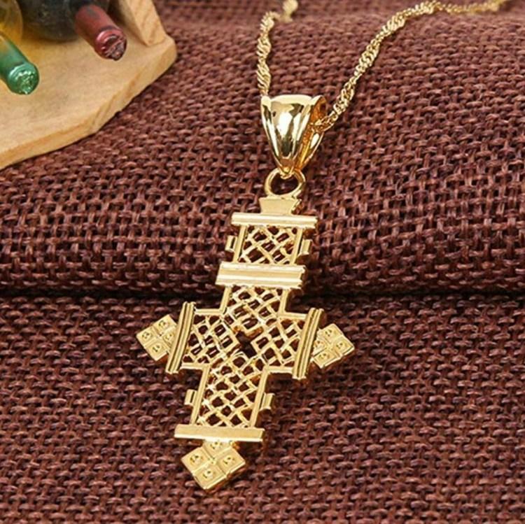 መስቀል ሐብል Gold Plated Filled Ethiopian Cross