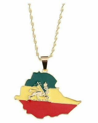 Ethiopian map and flag necklace gold plated የኢትዮጵያ ካርታ እና ባንዲራ ያለው የወርቅ ቅብ የአንገት ሀበል