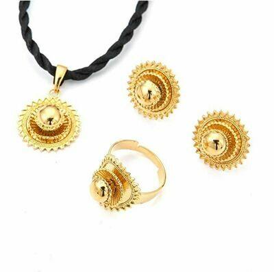 የጆሮ፣ አንገት እና ቀለበት ወርቅ ቅብ አበባ Ethiopian necklace, earrings and ring set Flower